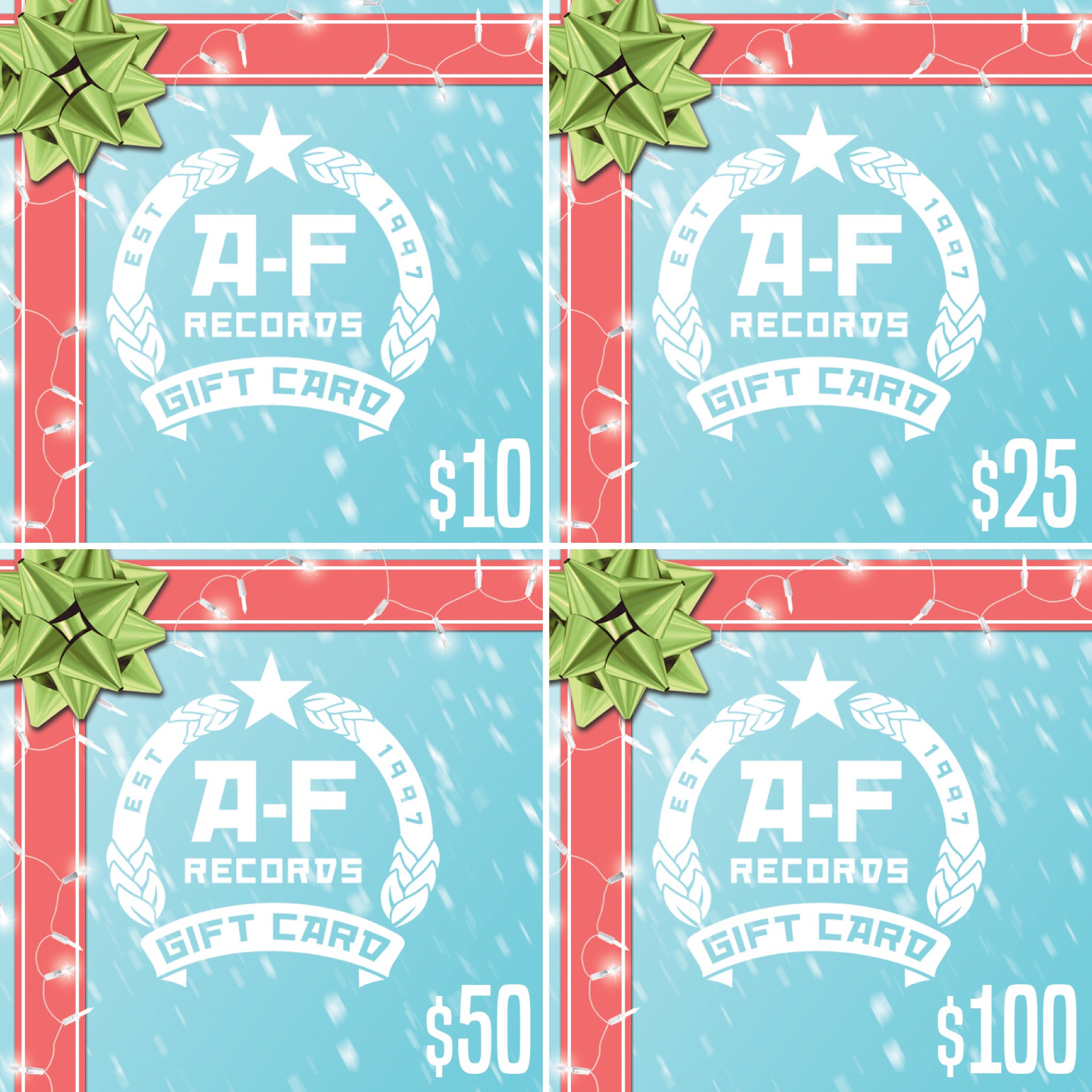 Purchase an A-F Records Digital Gift Card!