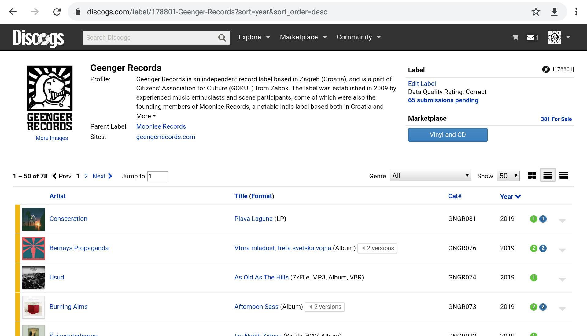 Geenger Discogs